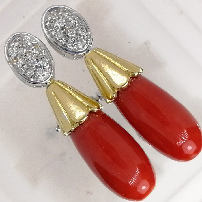 18 kt. Gold - Earrings Coral - Diamonds