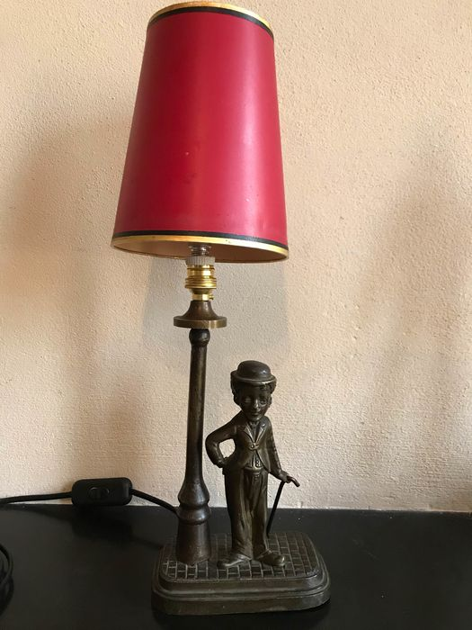 A table lamp with man, Charlie Chaplin - bronze patinated