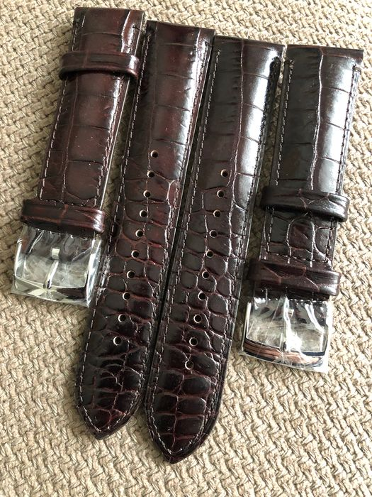 Lot of 2 straps - 22/20mm-  Handmade Embossed Alligator calf  - Dark Brown/ burgundy - Unisex - 2019