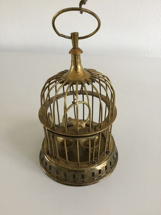Decorative bird cage with little bird - Brass