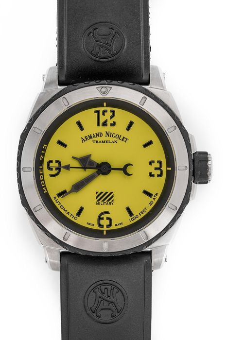 Armand Nicolet - Automatic S05-3 Diver Military Yellow Dial with Black Silicone Strap Swiss Made  - A713PGN-VN-G9610 - Men - Brand New