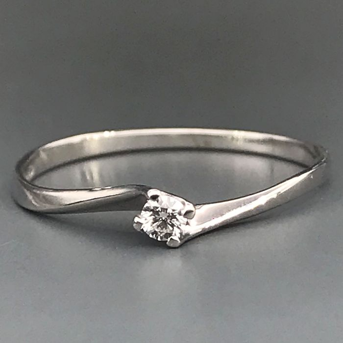 18 carats Or blanc - Bague - 0.05 ct Diamant