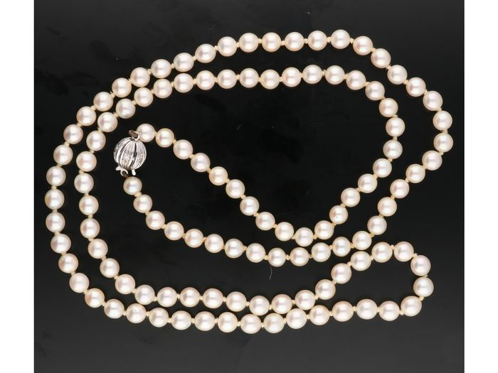 14 kt. White gold - Necklace Pearl - Diamond