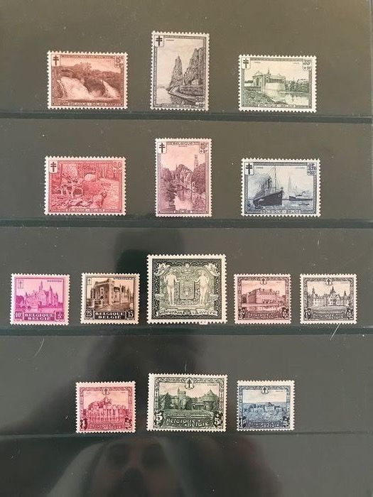 Belgium 1929/1930 - Three emissions with landscapes, castles and city coat of arms of Antwerp - OBP / COB 267/272, 301 en 308/314
