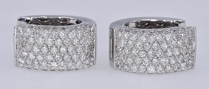 18 kt. White gold - Earrings - 1.47 ct Diamond