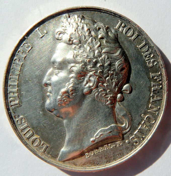 inauguration coin; LOUIS-PHILIPPE, Aug. 9, 1830 - Bronze (silvered) - August 9, 1830