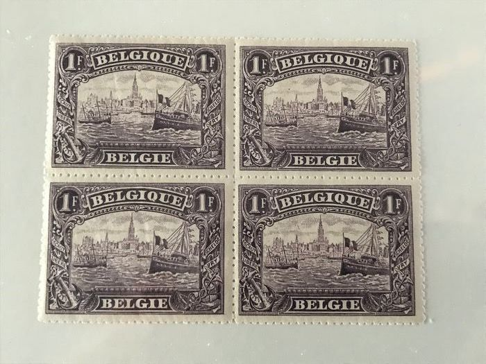 Belgium 1915 - Port of Antwerp in block of four - OBP / COB 145