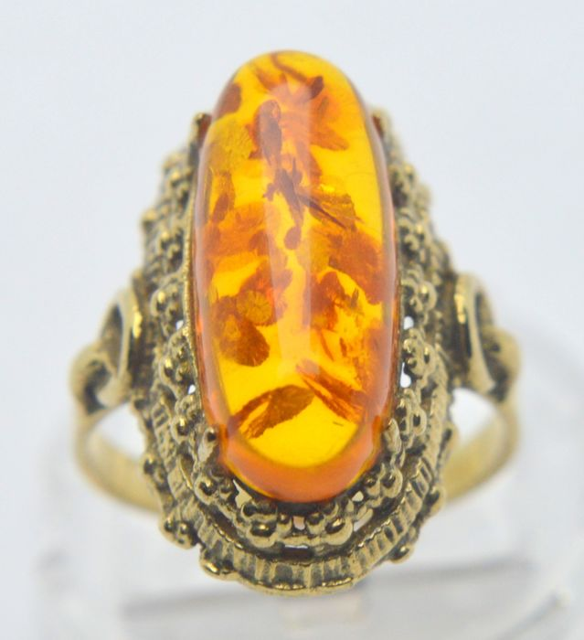 333 Yellow gold - Ring - 6.50 ct Amber - No indication of treatments