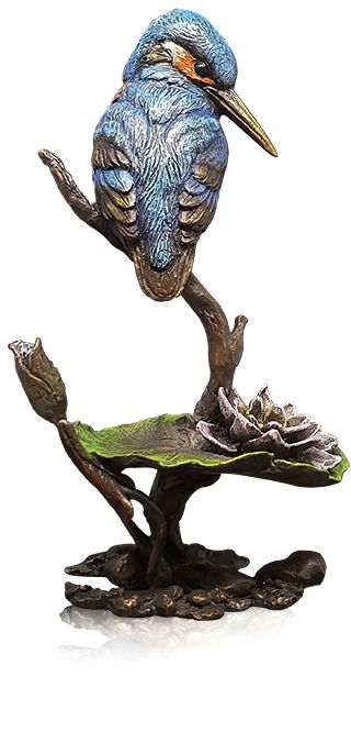 by Keith Sherwin - Kingfisher met Lily Limited Edition van 195 - Brons