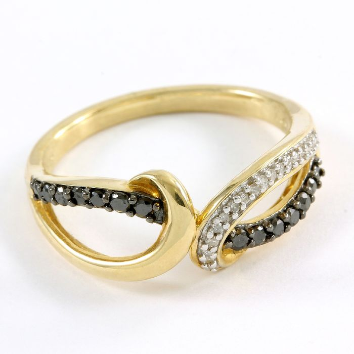 14 kt. Yellow gold - Ring - Natural (untreated) 0.28 ct Diamond