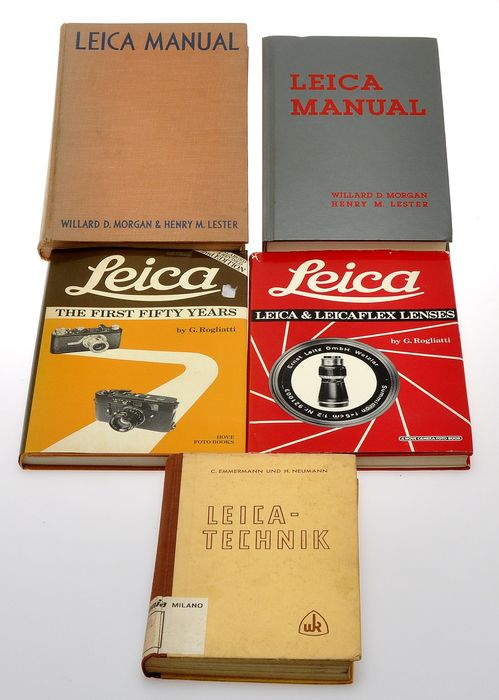 Leitz nice lot  5 books  Leica vintage  literature, English text  except one in German, various years