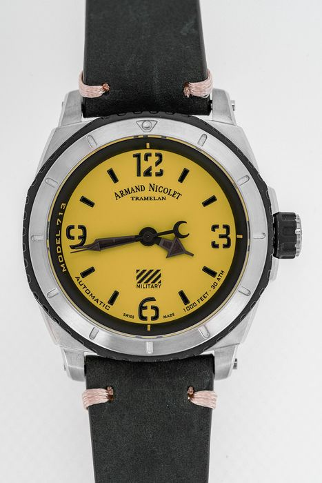Armand Nicolet - Automatic S05-3 Diver Military Yellow Dial with Black Hand Made Leather Strap Swiss Made -  A713PGN-VN-PK4140NR - Homme - Brand New