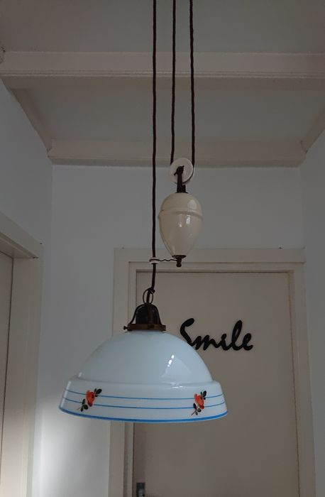 Beautiful hanging lamp (1) - Glass cap, Porcelain Weight and copper