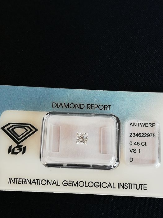 1 pcs Diamond - 0.46 ct - Princess - D (colourless) - VS1