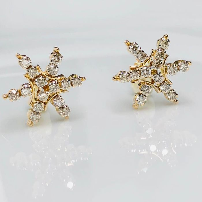18 kt. Yellow gold - Earrings - 1.16 ct Diamond