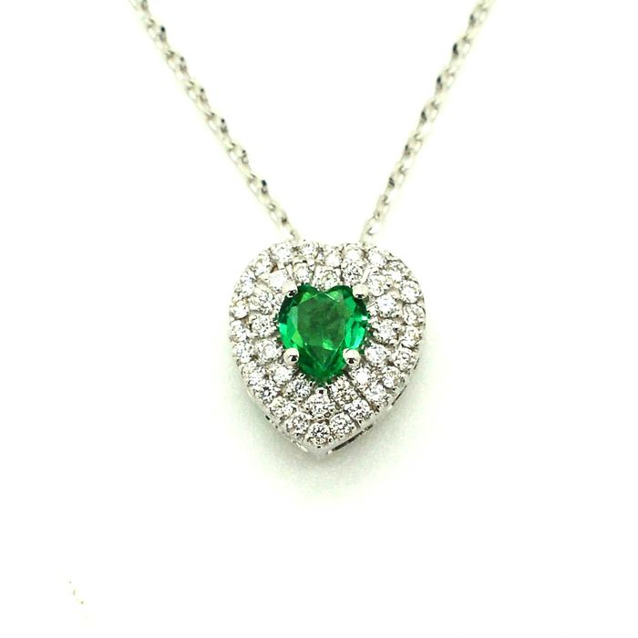 18 kt. White gold - Necklace with pendant - 0.23 ct Emerald - Diamond