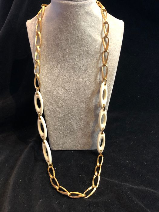 Gold-plated - Rare dated 1974 Christian Dior long necklace