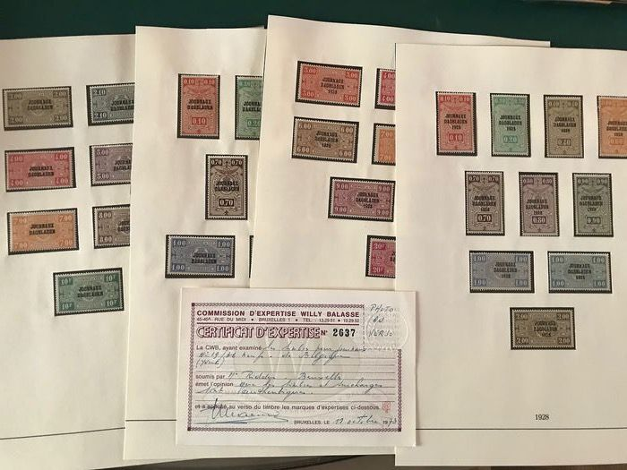Belgium 1928/1931 - Complete collection of daily newspaper with Balasse certificate - OBP / COB JO1/40