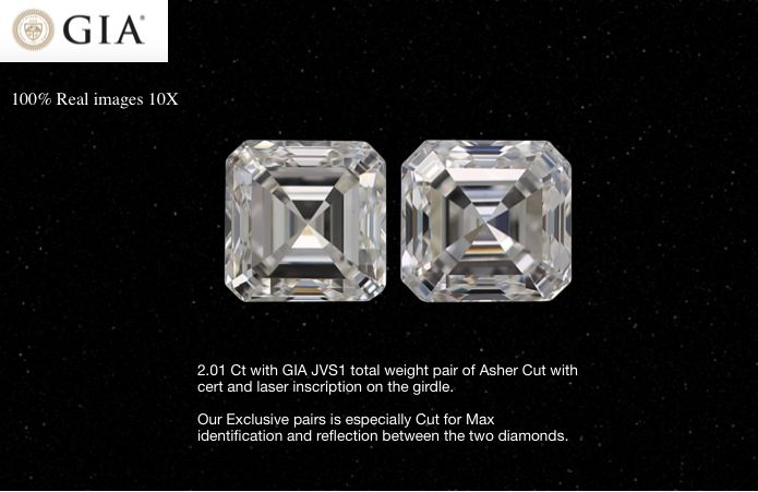 2 pcs Diamonds - 2.01 ct - Asscher - J - VS1