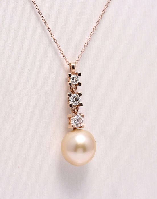 Other - 14 kt. Pink gold - Pendant - 1568.00 ct Pearls and diamonds - Diamond