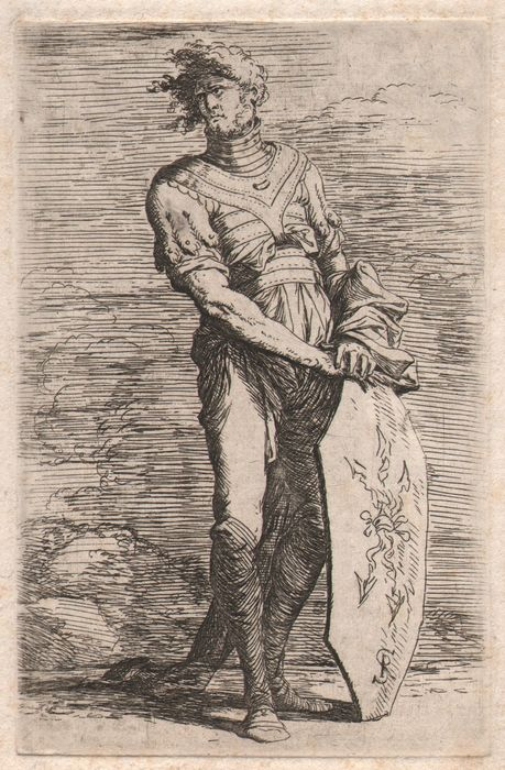 Salvator Rosa (1615-1673) - Standing warrior leaning on a shield