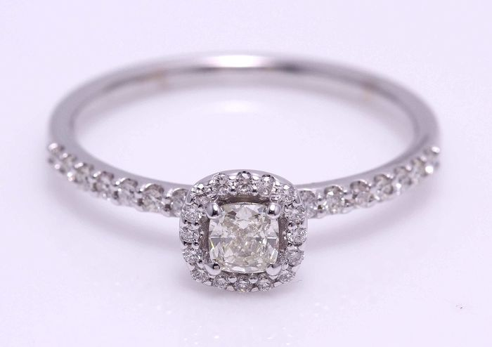 14 karaat Witgoud - Ring - 0.55 ct Diamant - Diamant