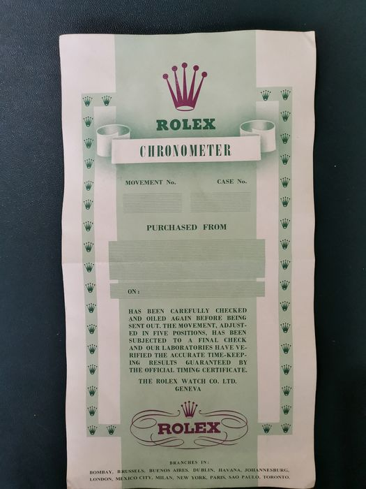 Rolex - Official Chronometer Certification  - Englisch - Men - 1950-1959