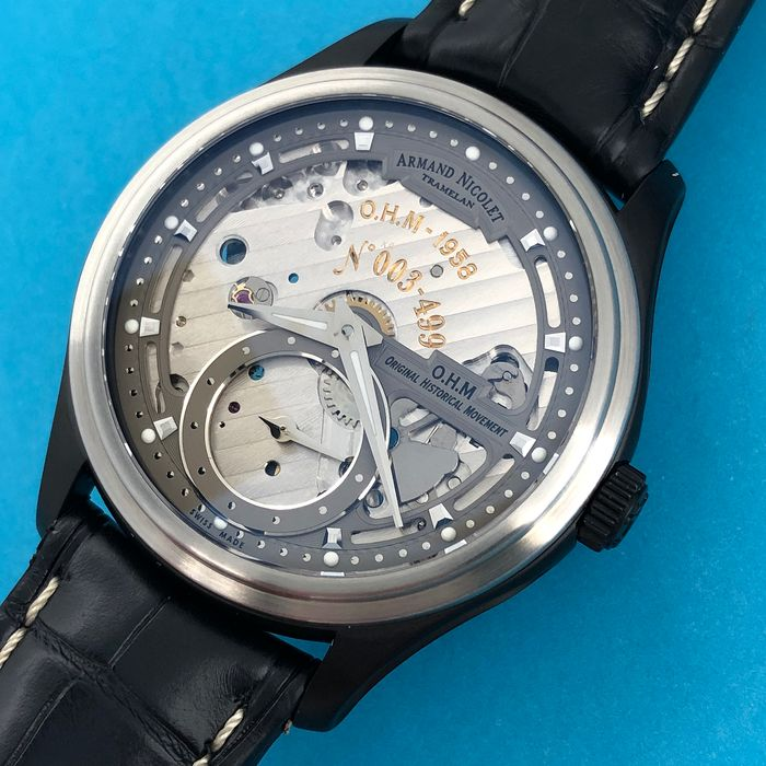 Armand Nicolet - L14 Small Seconds Skeleton Dial Limited Edition of 499 Watch O.H.M. DLC Swiss Made  - A750ANA-GR-P713NR2 - Men - Brand New