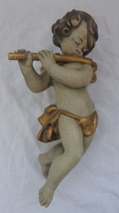 large colored wood angel with instrument flute wall figure sculpture 32 cm (1) - Wood