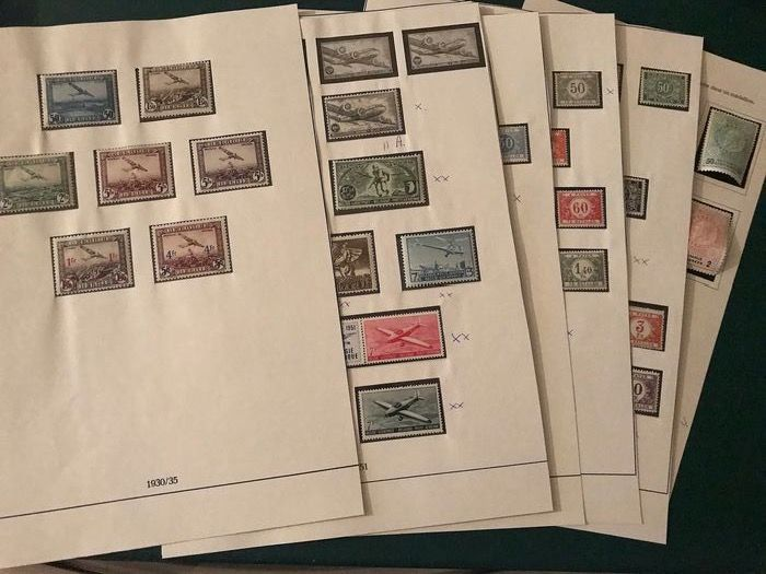 Belgium - Airmail and surcharged postage due, fairly complete on pages - OBP / COB PA1/35, TX1/65 en TE21/28