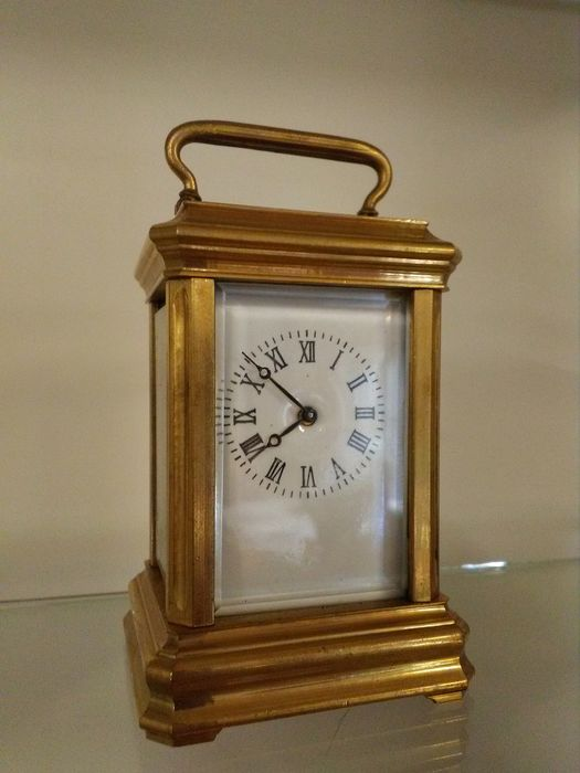 Brass travel clock or desk clock - brass, ground glass - Second half 20th century