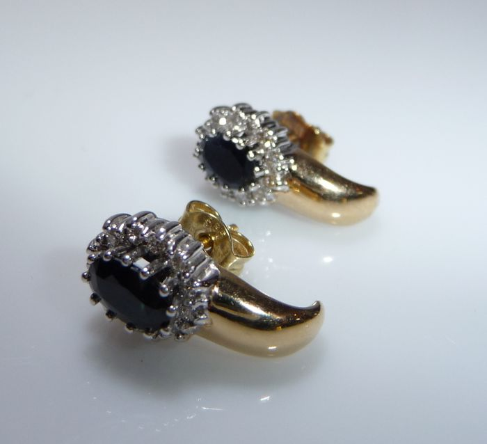 14 kt. Yellow gold, White - Earrings - 1.00 ct Sapphire - Diamonds
