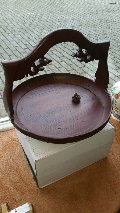 Wooden bowl with support arm (1) - Wood