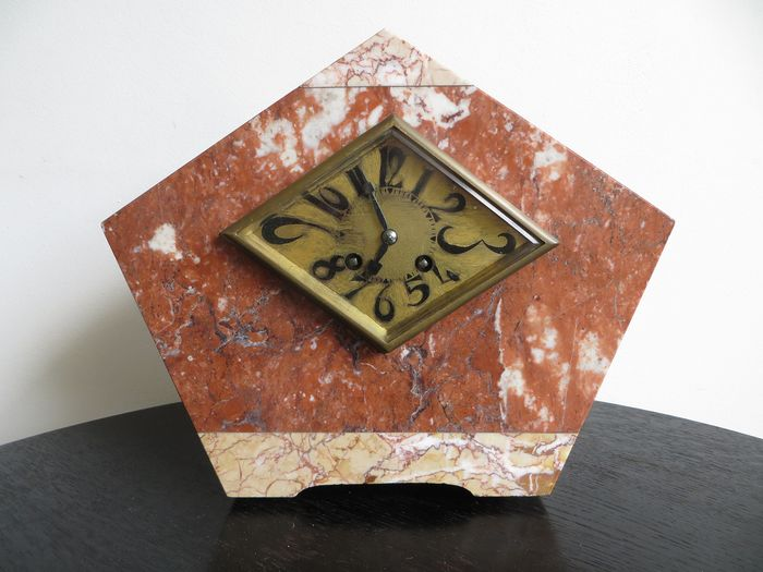 French Marble Art Deco Clock ca. 1925 - 1930