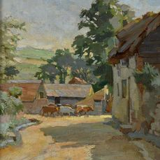 English school (19th century) - A scene with cattle at a farm at Amberley, Sussex, England