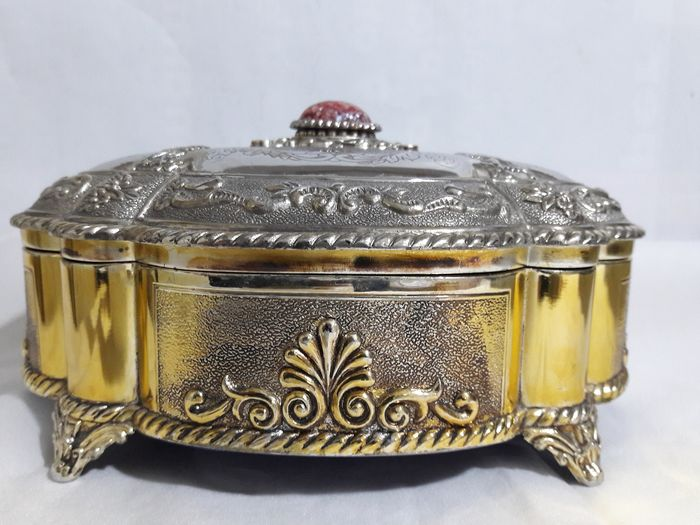 Vintage jewellery box - silver and gold-plated, second half of the 20th century