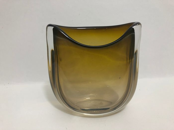 "Floris Meydam - Royal Leerdam - Clear glass ""Unica"" vase (AF 529) with yellow / green color and with clear glass overlay, 1954 - Glass"