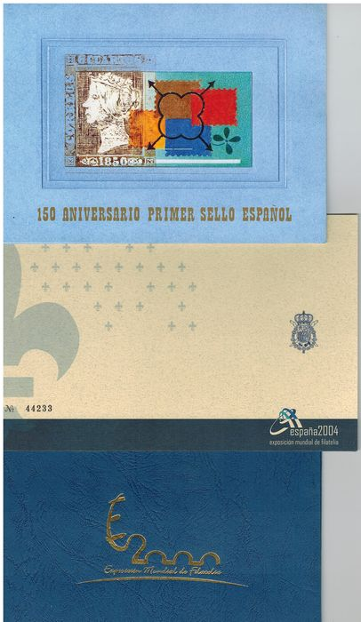 Espagne 2000/2004 - 150th anniv. Spanish stamp, 2000 World Exhibition and 2004 World Exhibition folders - Edifil 3711AC, 4087A y 3756/3766