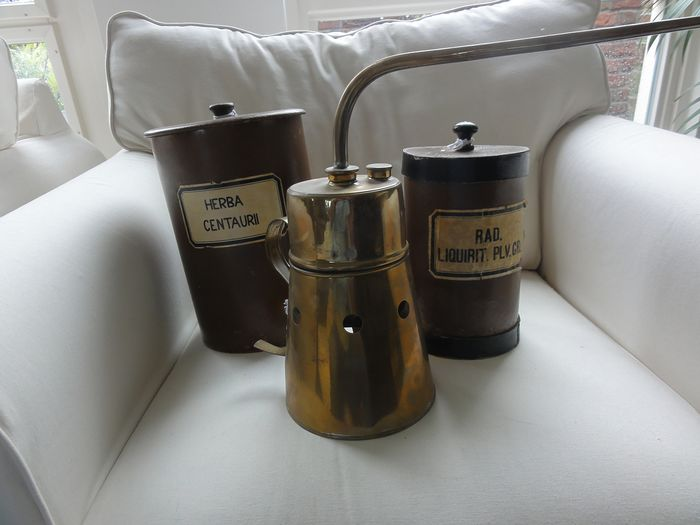 old copper nebulizer and 2 old apothecary jars (3) - Cardboard, Copper, Wood