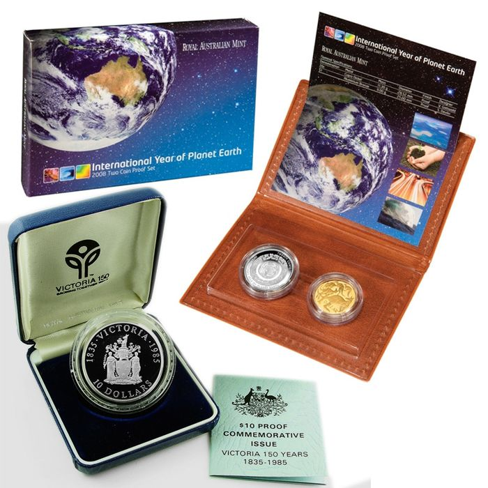 Australia - 10 Dollars 1985 '150th Anniversary - State of Victoria'  & Proof set 2008 'Year of Planet Earth'