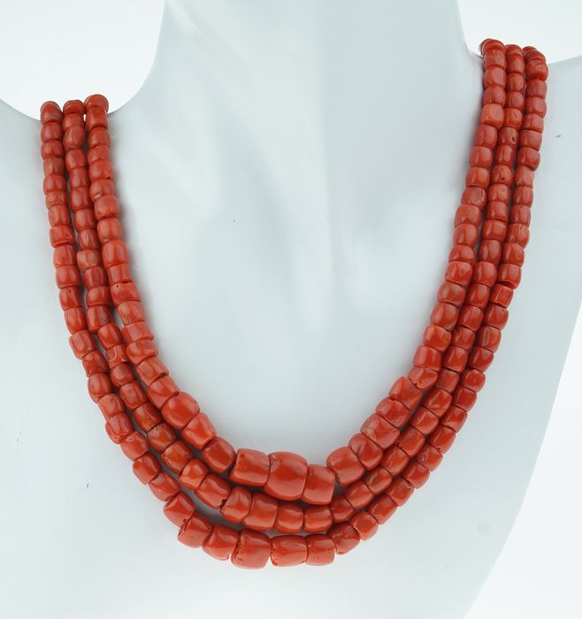 NO RESERVE - 14 kt. Yellow gold - Necklace Blood coral