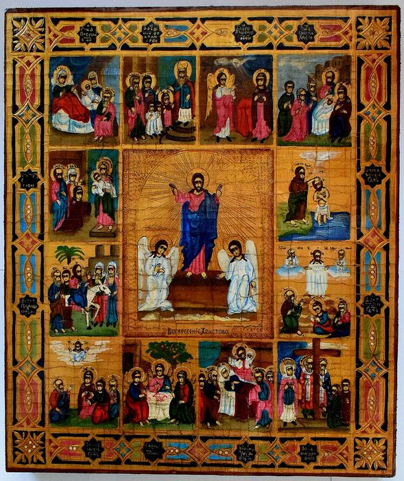 Russian icon. Great Feasts, handpainted - Icon - tempera, wood