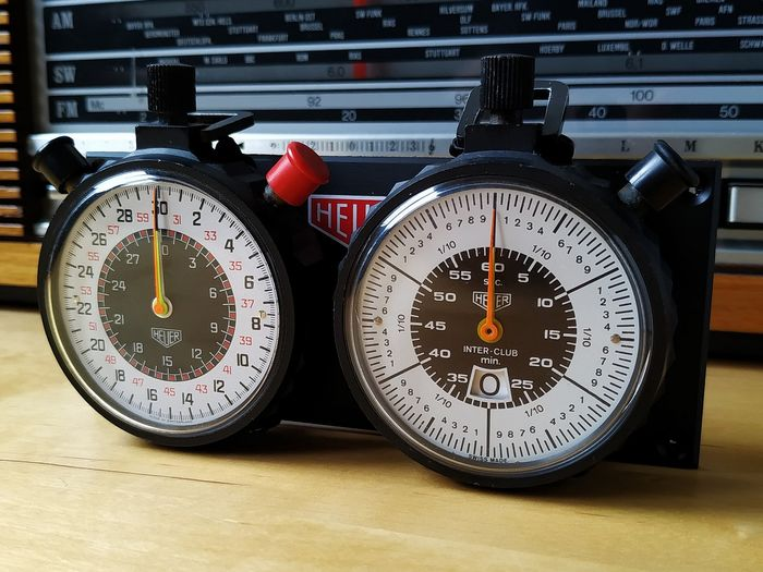 RALLY RACE CHRONOMETRAGE SYSTEM - HEUER - TIME KEEPING 2X 1/10 SPLIT / FAST RUN INTERCLUB STOPWATCHES - 1970