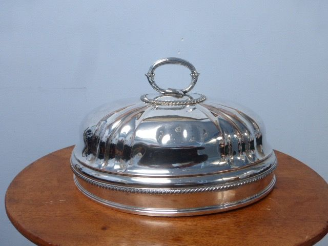 Silvered serving dish, meat dome - silver plated copper