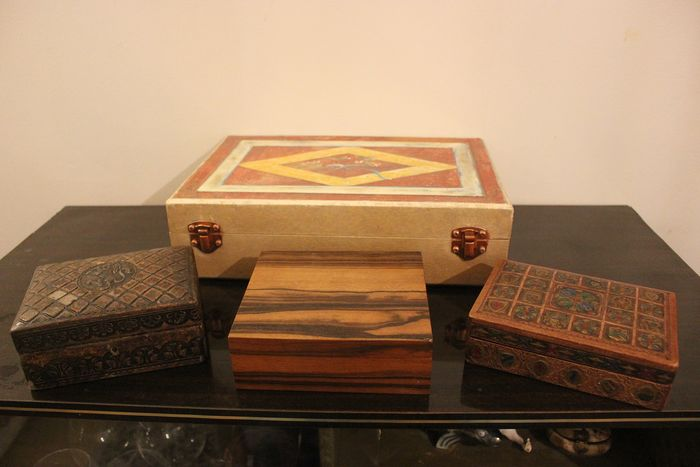 4 Boxes Napoleon 3 (lion, coat of arms etc) - Cardboard, Leather, Wood