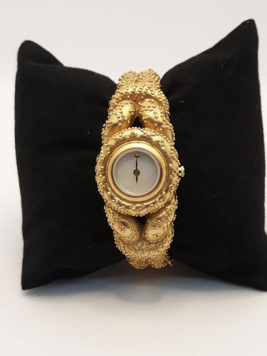 Mary McFadden - Franklin Mint - Etruscan bangle watch golden ribbons - Goldplate, Mother of pearl