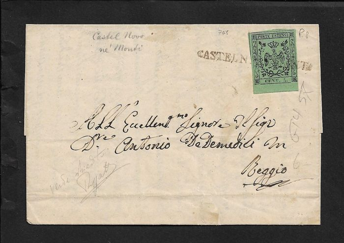 Modena 1855/1852 - 5 cents olive green on letter from Castelnovo nei Monti (pt8) to Reggio N. 8