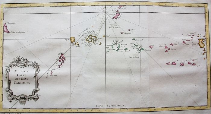 Micronesia, Asia, Oceania, Polynesia, New Guinea, East Indies, Pacific Ocean; J.N. Bellin & A.F. Prevost - Nouvelle Carte des Isles Carolines - 1751-1760