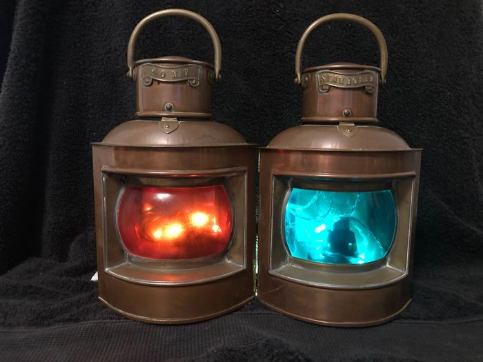 Navigation lamps, Vintage, Starboard and Port (2) - Copper, Brass - Early 20th century