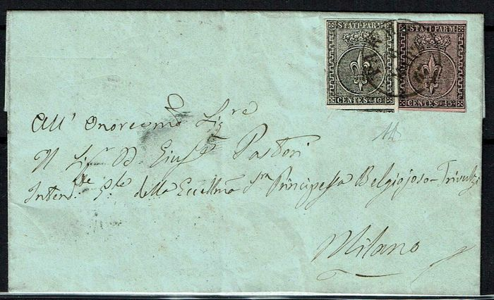 Parma 1857 - 1st issue, 5 and 10 cents on letter from Parma to Milan - Sassone NN. 2, 3